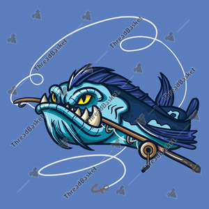 Angry Fish With Rod Vector Design for T-Shirts and Merch – A blue monster-like fish bites a fishing rod