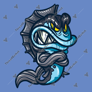 Angry  Monster Fish Vector Design for T-Shirts and Merch – A vector illustration of an angry monster fish