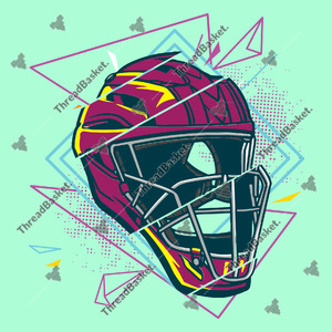 Baseball Helmet Vector Design for T-Shirts and Merch – Distorted baseball helmet with fun lines and colorful style