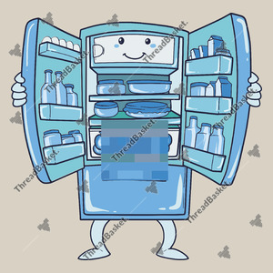 Blurry Fridge Vector Design for T-Shirts and Merch – Blue with blur fridge full of goods or stocks