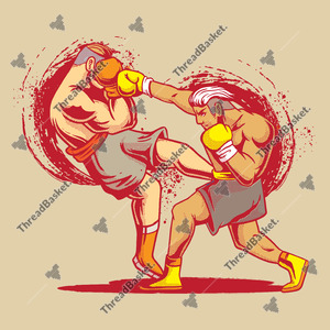 Boxing Fight Vector Design for T-Shirts and Merch – Two boxers fighting each other, one is winning the other is losing.