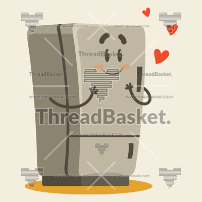 Fridge In Love Vector Design for T-Shirts and Merch – A beige colored fridge is in love with hearts floating around