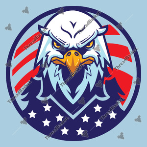 Independence Day Bald Eagle Vector Design for T-Shirts and Merch – American bald eagle with an American flag background