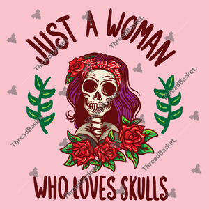 Just A  Woman Who Loves Skull Vector Design for T-Shirts and Merch – A woman skull with long violet hair wearing a red bandana with roses below her face