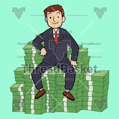 Money Money Money Vector Design for T-Shirts and Merch – A rich man wearing a formal attire sitting on the stacks of money