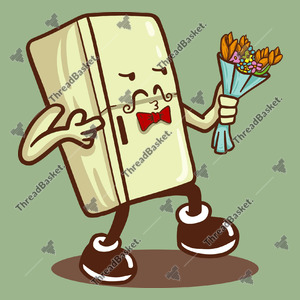 Suitor Fridge Vector Design for T-Shirts and Merch – A white fridge holding a bouquet of flower with a gesture of a handsome man that looks like he was trying to court some female fridge