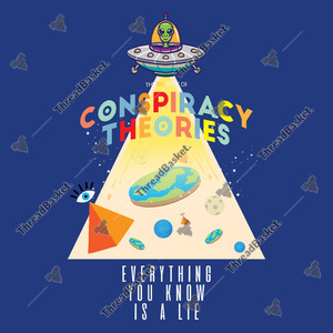 The Book Of Conspiracy Theories Vector Design for T-Shirts and Merch – Book of conspiracy theories where everything you know is a lie, the image shows an alien riding his UFO, flat earth, pyramid and planets.