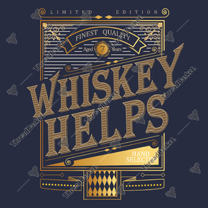 Whiskey Helps Vector Design for T-Shirts and Merch – A retro elegant whiskey helps image on a gradient frame
