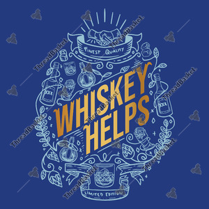 Whiskey Helps Vector Design for T-Shirts and Merch – A whiskey helps text with a different kind of whiskey and alcohol