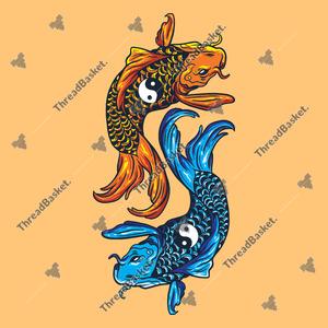 Yin Yang Koi Fish Vector Design for T-Shirts and Merch – Two Koi fish on a Yin Yang position with Yin Yang emblem on its body
