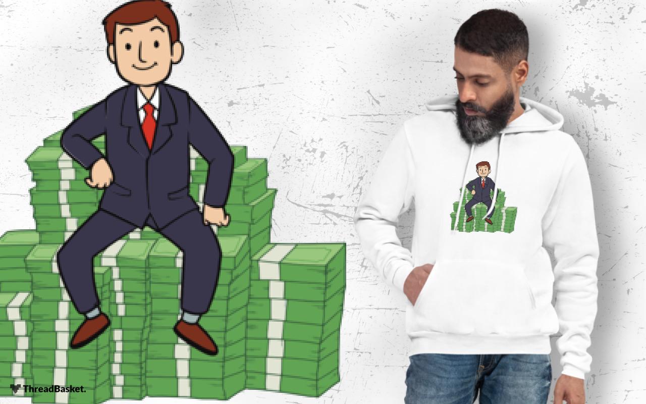 Hoodie mockup featuring bearded man wearing Money Money Money design