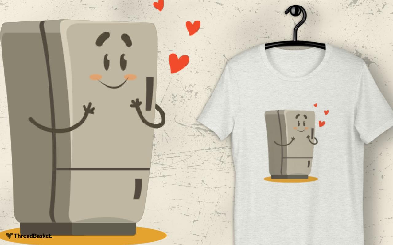 Mockup of t-shirt on hanger featuring Fridge In Love design