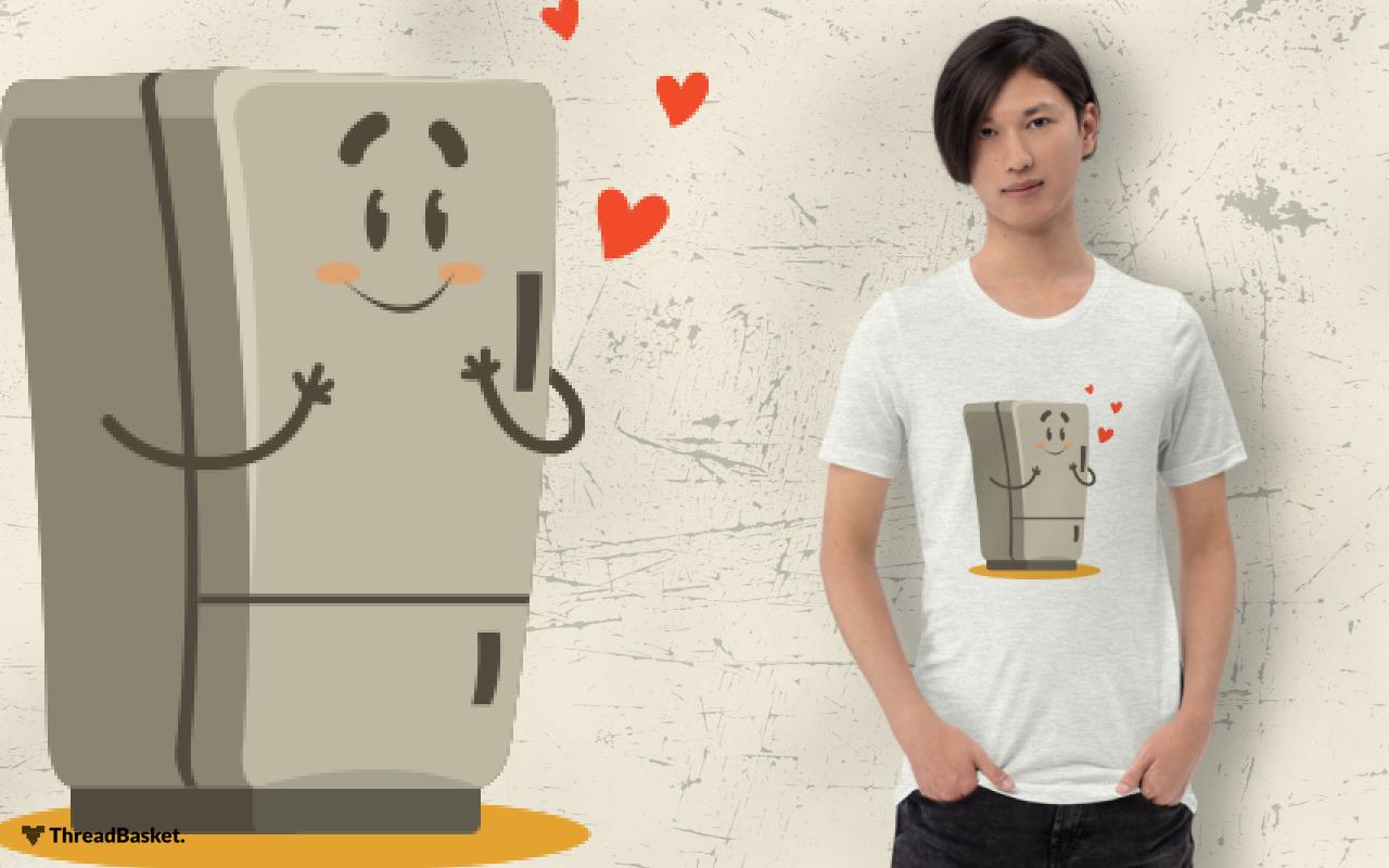 T-shirt mockup featuring Asian man wearing Fridge In Love design