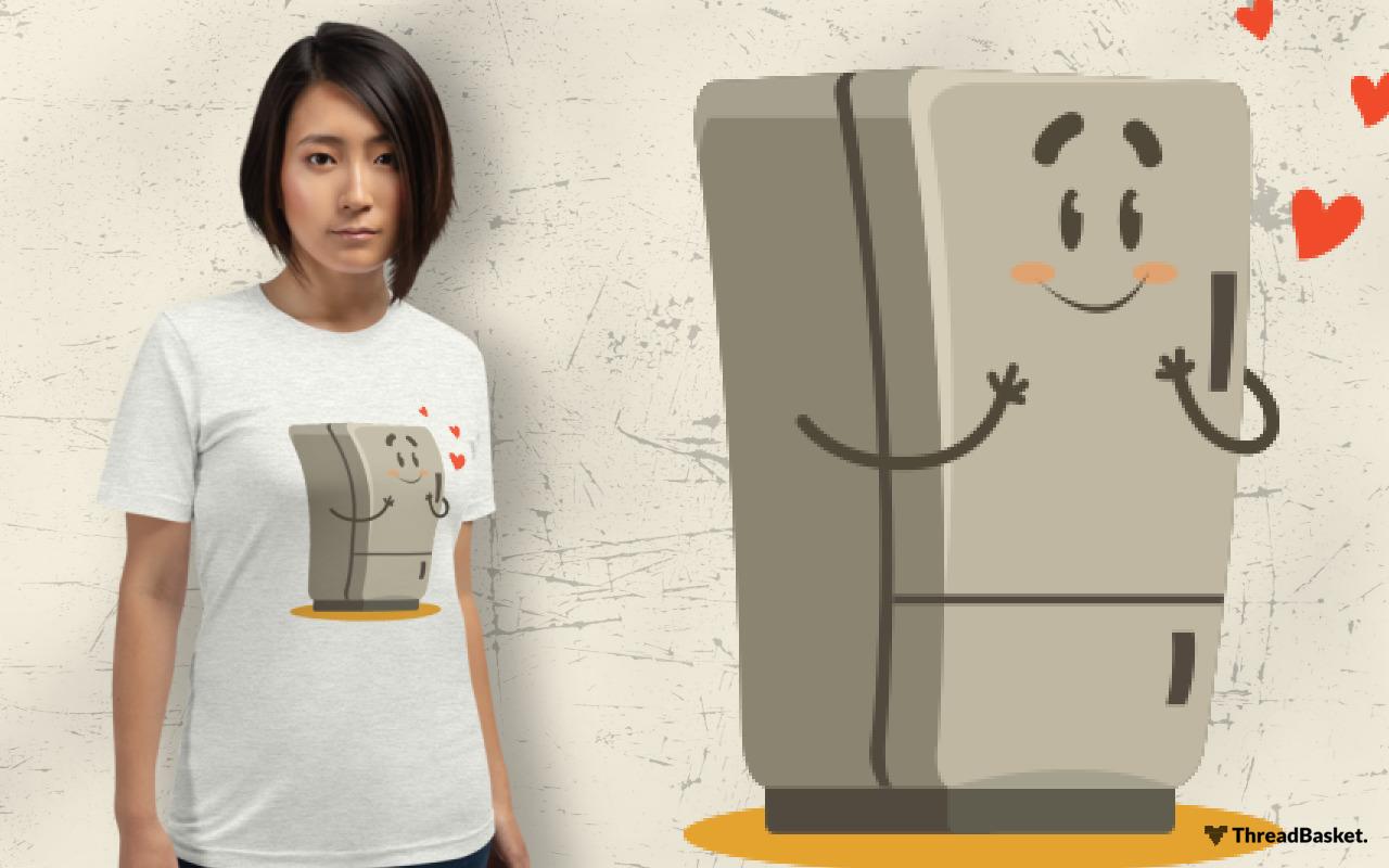 T-shirt mockup featuring Asian woman wearing Fridge In Love design