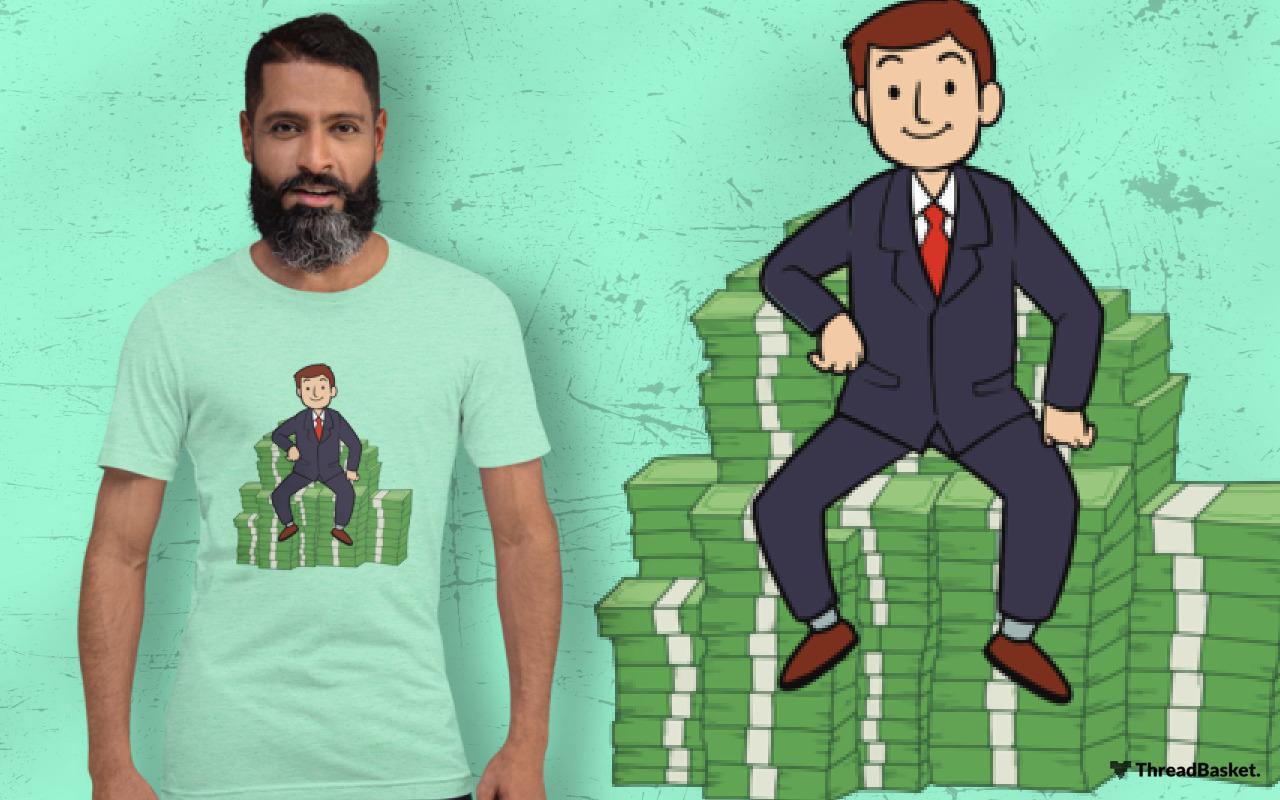 T-shirt mockup featuring bearded man wearing Money Money Money design